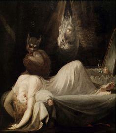 Johann Heinrich Füssli, le Cauchemar  1790-1791 Huile sur toile, 76 × 63 cm.  Goethe Museum, Francfort