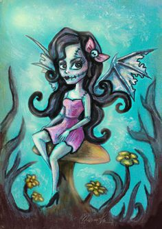 Franken Fairy with Bat Wings Gothic Fantasy Art by DianaLevinArt, $15.00