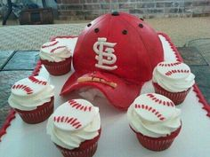 Mark and Sheila's Cardinal Cake and cupcakes