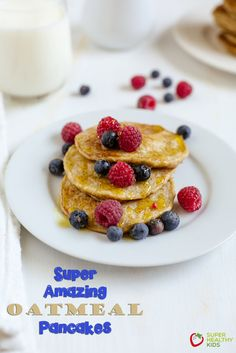 Super Amazing Oatmeal Pancakes.  Give these pancakes a try to get the benefits of oatmeal in a pancake!