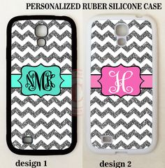 PERSONALIZED W/OUT GLITTERS GREY CHEVRON MONOGRAM Case For Samsung Galaxy S3 S4