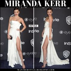 Miranda Kerr in white strapless gown and silver sandals