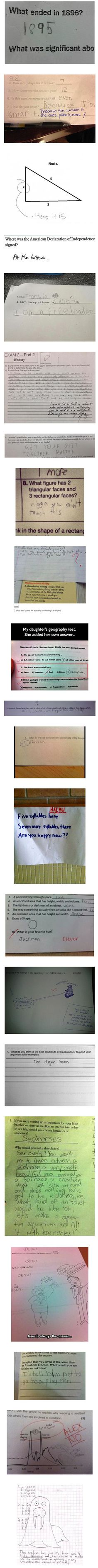 Don't know the answer on a test? Here are some examples of what you shouldn't write on them.