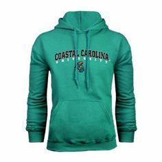 Coastal Carolina Champion Teal Fleece Hood-Medium, Coastal Carolina University Arched by CollegeFanGear. $38.98. Fleece. Champion Fleece Hood coverstitched detailing on all major seams. Taped neck with locker patch. External cuff logo. 9oz. 50% cotton/50% polyester, double layer hood with drawstring and metal grommets, front pouch pocket, rib knit trim at cuffs and waist. Screen Printed Logo.