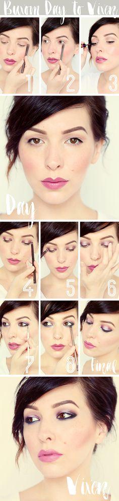 Keiko Lynn - Makeup Monday: Day To Night Tutorial with BUXOM Customizable Eyeshadow Bar Palette, using plum, wine, and mauve. Best Makeup Tutorials, Best Makeup Products, Makeup Tips, Beauty Makeup, Owl Makeup, Makeup Eyeshadow, Eyeshadows, Mary Kay, Night Makeup