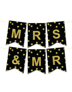 Gold Foil Mr & Mrs Wedding Banner