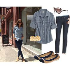 Love those denim shirts & skinny jeans with a gold bracelet, created by georgiabelle on Polyvore