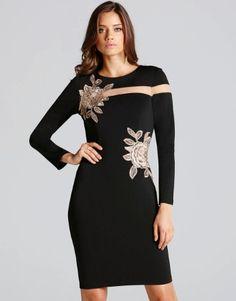 Little Mistress Flower Embroidered Mesh Bodycon Dress: girl Dressy Dresses, Elegant Dresses, Bodycon Dress Formal, Embroidered Flowers, White Long Sleeve, Beautiful Gowns, Mistress, Women's Fashion Dresses, Dress Collection