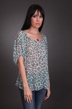 Leopard + Summer = this amazing sheer top with draped back for only $22.99 at www.fourthandocean.com
