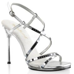 FABULICIOUS FLAIR-419(G) Silver Multi Glitter-Clear Ankle Strap