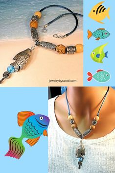 """Shop now: https://www.etsy.com/listing/152724005 ....  This 19-inch """"Catch of the Day"""" fish pendant necklace features a 3-inch long lightweight metal plated plastic fish charm, teal satin cord, lampwork glass bead, carved olive wood rounds, and a TierraCast antiqued silver vine hook and eye clasp. #jewelrybyscotti #fishnecklace #handmadejewelry"""