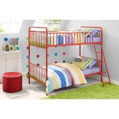 9 by Novogratz Berkshire Iron Twin/Twin Bunk Bed, Multiple Colors