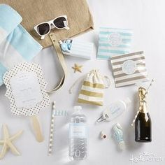 Welcome your guests to a fun beach destination wedding in the sun with a bright (and practical) welcome bag. | DIY Beach Destination Wedding Welcome Bag | Kate Aspen