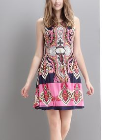 Look at this Reborn Collection Pink Abstract Tie-Back Shift Dress on #zulily today!