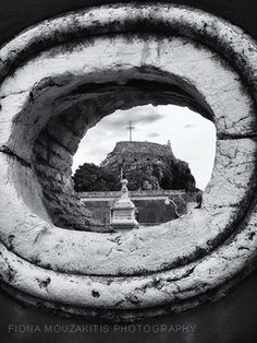 EYE OF THE WALL. Opening in the Old Fort Wall. Corfu Greece. Corfu Town, Corfu Island, Corfu Greece, Old Fort, Local Tour, Photo B, Walking Tour, Black And White Photography, Past