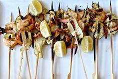 Milk and Honey: Prawn and Zucchini Skewers Prawn, Shrimp, Lunch Catering, Milk And Honey, Skewers, Zucchini, Seafood, Beach House, Veggies