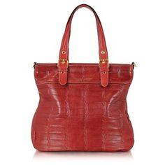 Robe di Firenze Handbags Red Croco Stamped Italian Leather Tote
