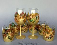 Festive win glasses Christmas Glasses Winter Wedding by FLORINAART
