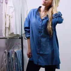 Boyfriend Denim Shirt *Last One* LOVE this! Boyfriend denim shirt with a soft and flowy oversized fit. Too comfy for words. High low hem. Unique and super chic. New with tag. Price firm. Size M/L available - only one left❕S/M sold out. Leggings also for sale. Tops