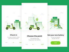 Scooter charging designed by Andrew Sereda ⚡ for qubstudio. Web Design, Website Design Layout, App Ui Design, Ui Design Mobile, Mobile Ui, Onboarding App, Interface Web, Splash Screen, Apps