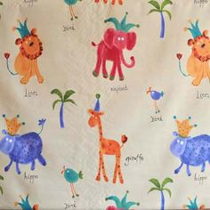 Hip Hippo Ray - Antique hippo animal fabric in antique Kids Fabric for Kids Curtains Bedding and Kids Curtain Kits UK