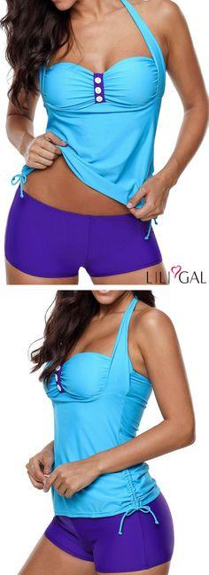 b5b0efe73 Drawstring Side Button Detail Halter Tankini Set #liligal #swimwear # swimsuit Vintage Swimsuits,