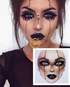 Halloween Makeup Witch, Halloween Makeup Clown, Witch Makeup, Halloween Eyes, Halloween Makeup Looks, Voodoo Makeup, Scary Halloween Makeup, Angel Makeup, Halloween Vampire