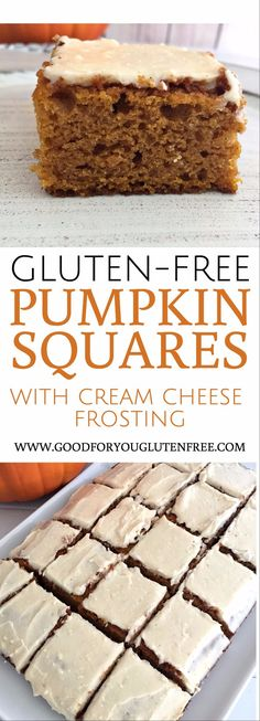 Gluten-Free Pumpkin Squares Recipe with Cream Cheese Frosting - Good For You Gluten Free eating clean healthy celiac's disease friendly recipe gluten intolerance fall thanksgiving dessert Cookies Gluten Free, Gluten Free Deserts, Gluten Free Sweets, Gluten Free Cakes, Foods With Gluten, Gluten Free Cooking, Gluten Free Recipes, Gluten Free Pumpkin Bars, Vegan Pumpkin