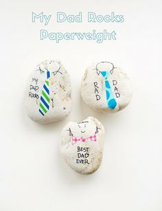 Make dad these cute and easy rock paperweights for Father's Day to show he's #1!