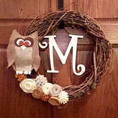 Vine wreath with owl flowers and initial by nightowlcrafters