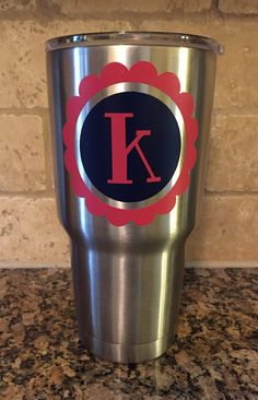 YETI Large 30 Oz. 2-Color Letter Initial by BurlapPillowsEtc
