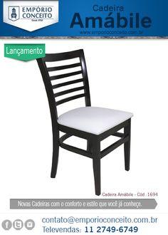 Google+  Já está disponível a nova Cadeiras Amábile no site Emporioconceito.com.br. Muito Confortável agora disponível para compras em pequenas quantidades. Sua estrutura em madeira maciça, encosto anatômico e assento estofado oferecem o máximo em conforto e durabilidade num produto que é lindo. Simplesmente apaixonante ;) http://www.emporioconceito.com.br/cadeira-restaurante-amabile-em-madeira.html