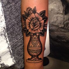 Oldschool tattoo vase with a rose by tattoo artist William Roos of StockholmInk Stockholm, Sweden
