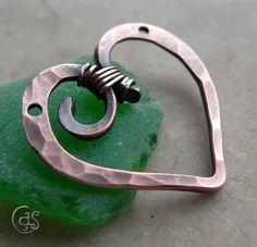 Copper Heart Pendant Charm Handmade by ArtnSoulBeads