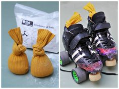 Skate or sneaker fresheners - baking soda, essential oil, and a pair of socks!