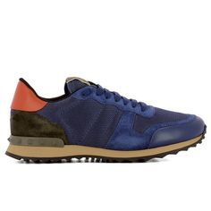 Blue Fabric Sneakers ($425) ❤ liked on Polyvore featuring men's fashion, men's shoes, men's sneakers, blue, valentino mens sneakers, mens blue shoes, mens rubber sole shoes, valentino mens shoes and mens studded shoes