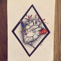 #heart #oldschool #illustration #puntillismo #rose #blood done by me.
