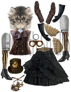 Steampunk paper doll time traveler kitty articulated puppet doll toy DIY instant download 38x11 sheet 300dpi 1 kitty puppet for you to use
