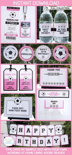 Girls Soccer Party Printables, Invitations & Decorations | Editable Birthday Party Theme Templates | INSTANT DOWNLOAD $12.50 via SIMONEmadeit.com More