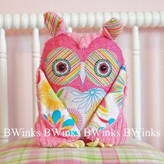 Owl Pillow stuffed plush toy - Stuffed Owl Decor Friend - BWinks' girl cotton fabrics with bright pink chenille owl. $36.00, via Etsy.