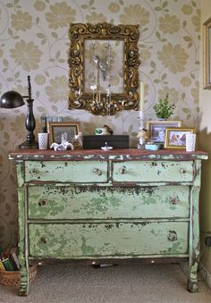 Green Shabby Chic Chipped Paint Dresser - - - Fell in love with this piece!