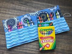 Excited to share this item from my #etsy shop: Blue Crayon Roll - Crayon Holder - Kids' Art Supplies