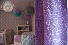 purple nursery window panels
