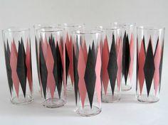 Mid-Century Tumblers - - Retro Barware - 8 Pink and Black Diamond Coolers - Mid-Century Barware - Art Deco Tumblers