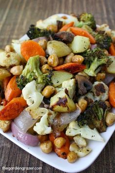 One-pan roasted vegetables and chickpeas! Easily customizable (vegan, gluten-free)