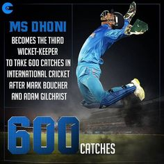 MS Dhoni enters an exclusive club of glovesmen who have taken 600 or more catches in international India Cricket Team, Cricket Sport, Live Cricket, Cricket Match, Cricket Games, Ms Doni, History Of Cricket, Cricket Poster, Dhoni Quotes