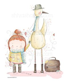 Children Illustration Little Girl And Her by ShivaIllustrations