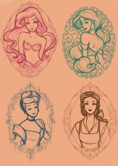 Ariel, Jasmine, Cinderella, Belle sketches