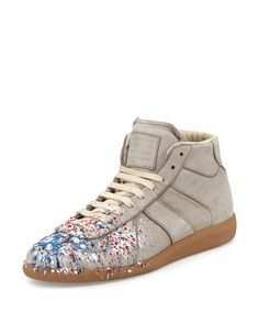these are so nice. Maison Margiela | Gray Paint Splatter Leather High-Top Sneaker for Men | Lyst