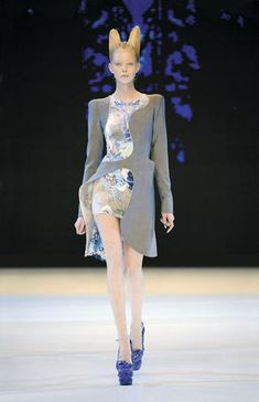 Alexander McQueen Plato's Atlantis, spring/summer 2010. Grey wool with silk/synthetic knit printed in jellyfish pattern